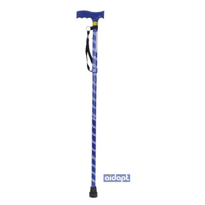 Extendable Plastic Handled Walking Stick with Engraved Pattern